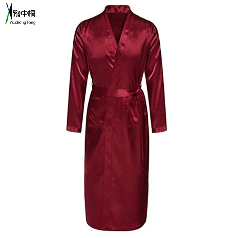 Chinese Men's Wine Red Satin Robe With Belt Kimono Bathrobe Gown Nightgown Sleepwear Home Leisure Pajamas S M L XL XXL TBG0611