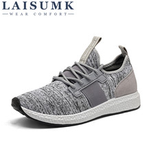 2019 LAISUMK Men Casual Shoes Summer Breathable Mesh Lightweight Flats Fashion Brand Designer