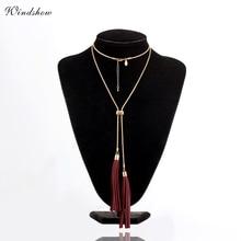 Leather Fringe Tassel Neklaces & Pendants Statement Long Necklace Women Gold /White Color Vintage Snake Chain Body Jewelry BOHO