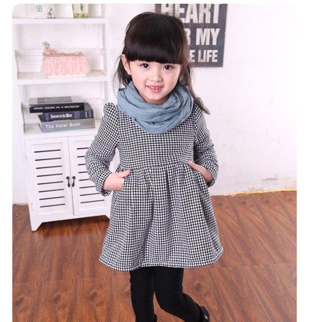 2017 зимнее пальто для девочек в клетку с длинными рукавами плотное платье принцессы для девочек рождественское платье праздничное платье для девочек модные милые теплые платье Детская одежда