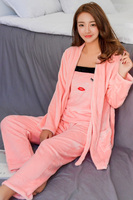 2017 New Warm Robe & Gown Sets Sexy Soft 3 Sets Sleep & Lounge Flannel Pink Homewear Clothes Camisoles+Coat+Pants Plus Size