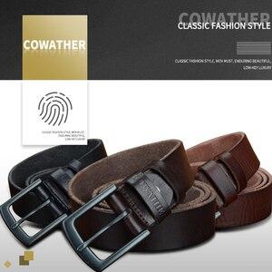 Image 4 - COWATHER 100% جلد البقر أحزمة جلد طبيعي للرجال خمر 2019 تصميم جديد الذكور حزام ceinture أوم 110 130 سنتيمتر الرجال حزام