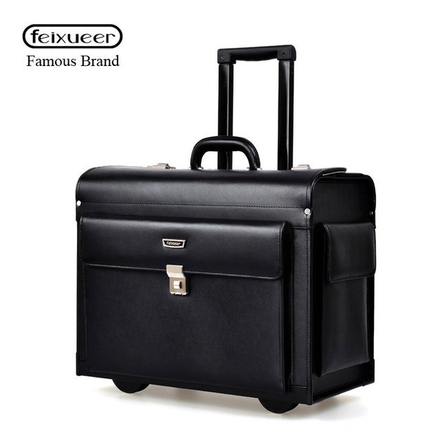 64304d42cc95 feixueer Hot Luxury Business Leather Trolley Suitcase Pilot Captain Rolling Luggage  Mens Fashion 17 Inch Travel Case Women Brown