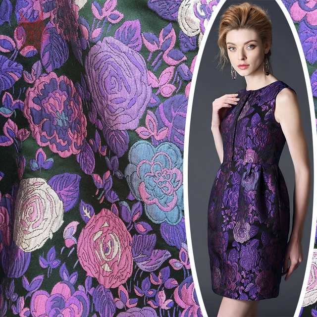 Purple floral jacquard brocade fabric for dress coat suits cheap ...