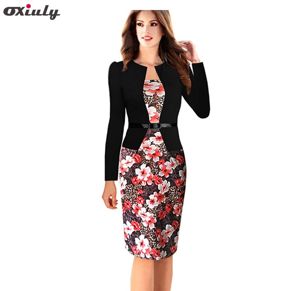 Oxiuly dámské elegantní faux twinset pásek bavlněné směsi květinovým potiskem patchwork nosit k práci obchodní tužka pláště bodycon šaty