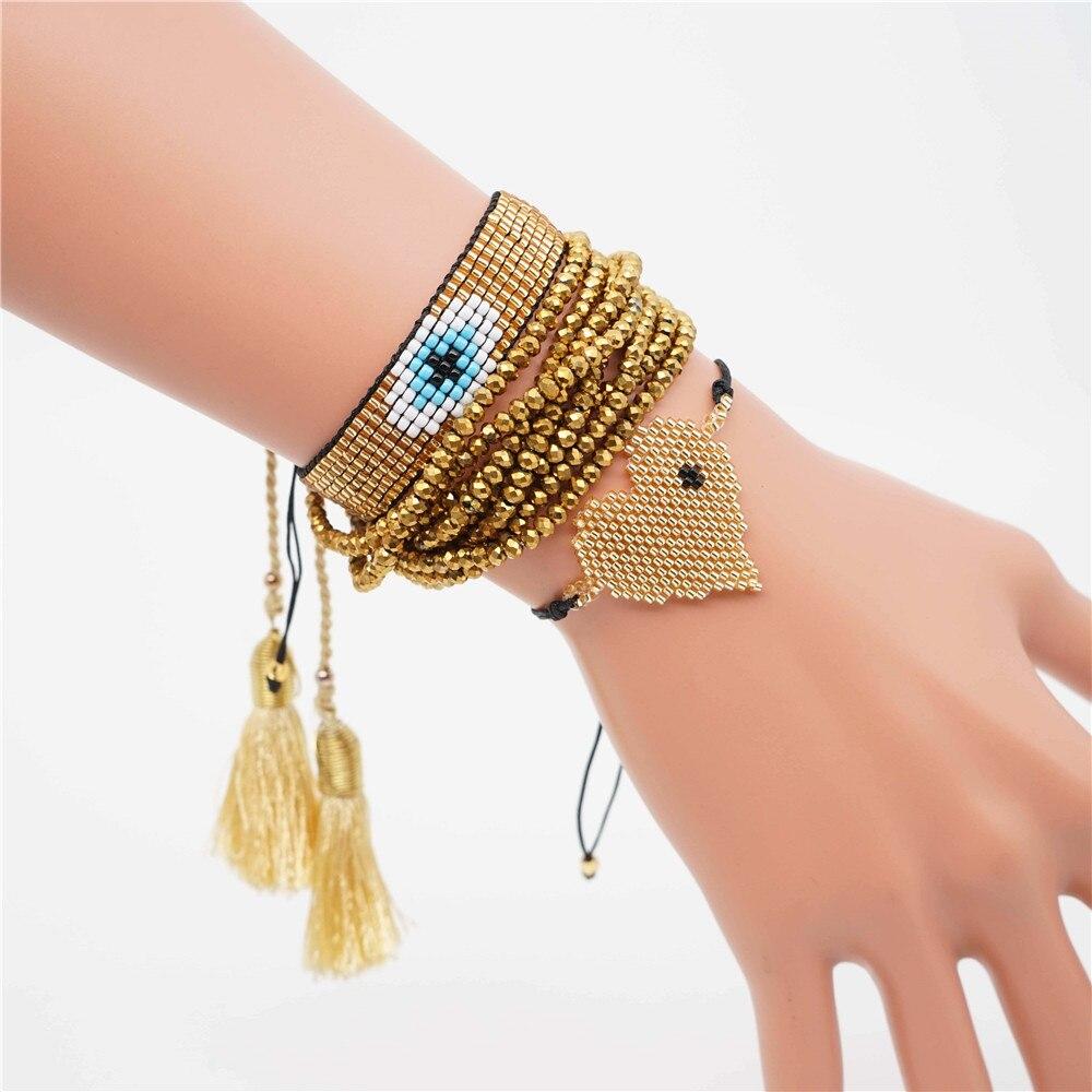 Shinus Pulseras Mujer 2019 Women Perles MIYUKI Bracelet Instagram Heart Bracelet Summer Jewelry Bijoux Gold Crystal Tassel DIY