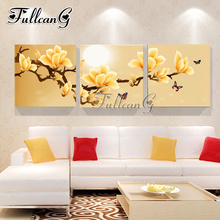 FULLCANG 3pcs diy diamond painting orchid butterfly triptych mosaic cross stitch rhinestone embroidery full square drill G1140
