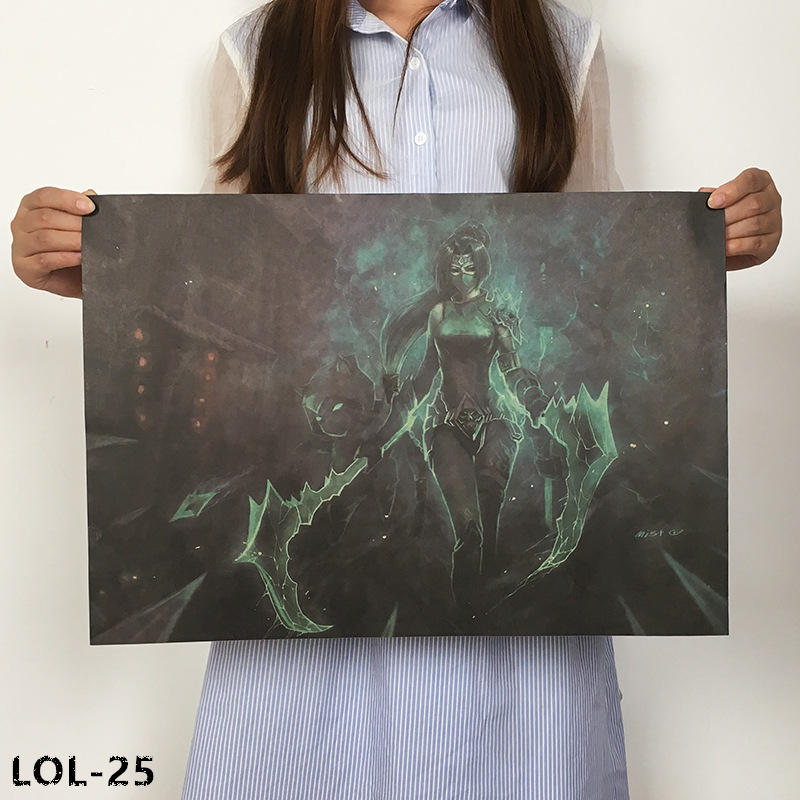New League Of Legends Poster Online Game Poster Retro Kraft Paper Poster Dormitory Internet Cafe Decorative Painting Core L-25