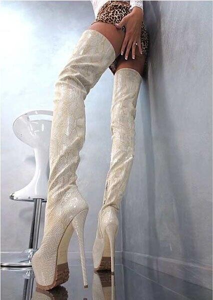 Talon Imprimées Hiver Sexy Bottes Chaussures Bout Cuir Senior forme Femmes En Cuissardes Python Cm Rond 16 Plate Haut Femme Personnalisé vwxUqEO