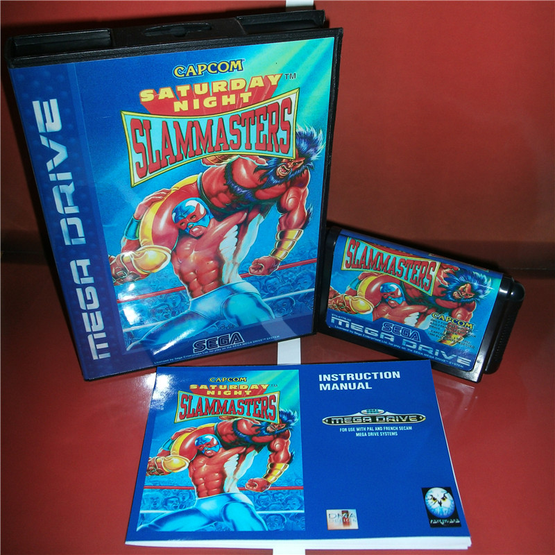 Saturday Night Slam Masters EU Cover with box and manual for Sega MegaDrive Genesis Video Game Console 16 bit MD card
