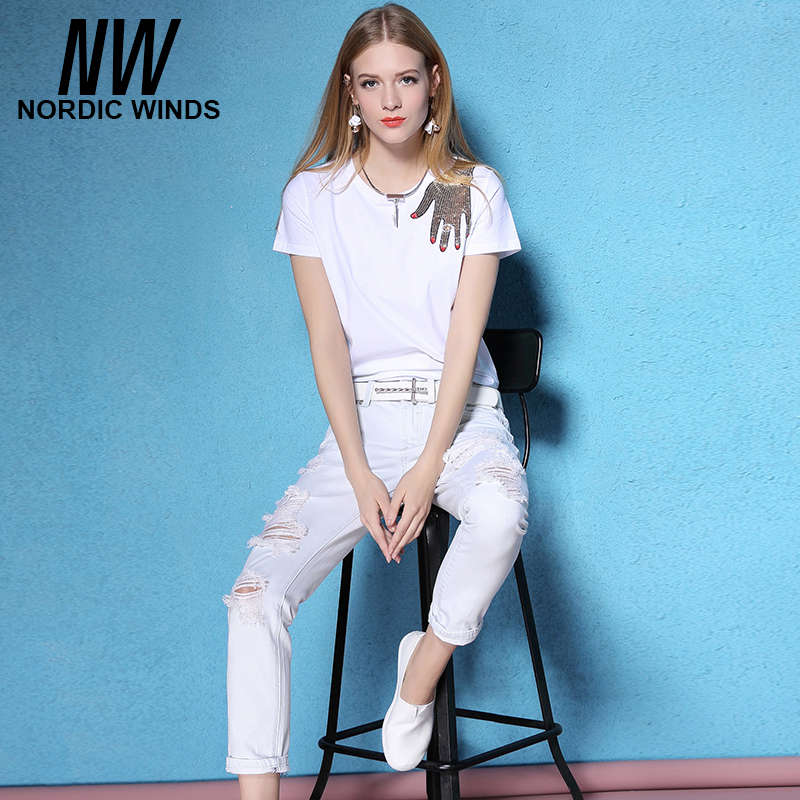 ФОТО The spring and summer of 2017 female 9 slim frayed trousers nine cotton white hole Europe washed jeans