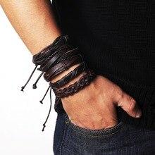 17IF, pulsera Tribal Vintage para hombres, pulseras de cuero multicapa, brazalete de cuerda tejida de encaje, pulsera y brazalete para hombre, pulsera étnica