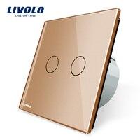 Livolo Golden Crystal Glass Switch Panel EU Standard Wall Switch AC 220 250V VL C702 13