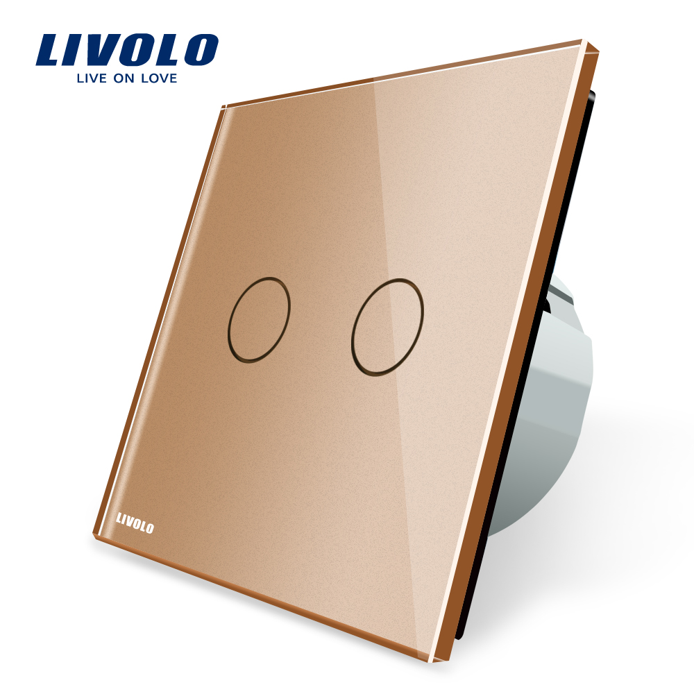 Livolo Golden Crystal Glass Switch Panel, EU Standard, Wall Switch , AC 220~250V ,VL-C702-13 livolo eu standard touch timer switch ac 220 250v vl c701t 32 black crystal glass panel wall light 30s time delay switch