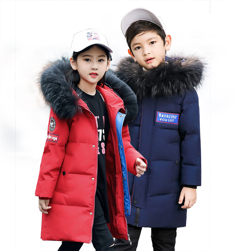 Russian 2018 Winter Down Jacket Boy Fur Hooded Boy Winter Jacket Child Winter Outerwear Coats Thicken Warm Jacket Girls Jacket 2018 girls clothing warm down jacket for girl clothes 2018 winter thicken parka real fur hooded children outerwear snow coats