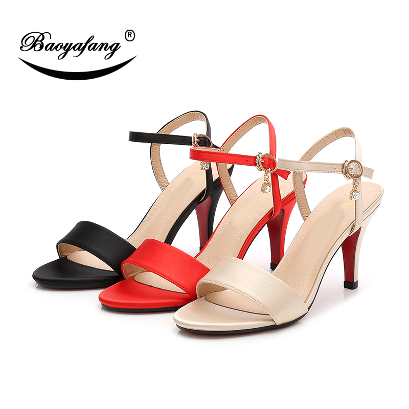 BaoYaFang New Summer sandals 7cm Thin heel shoes woman fashion ladies party sandals high shoes ankle strap Buckle Sandals new women sandals low heel wedges summer casual single shoes woman sandal fashion soft sandals free shipping
