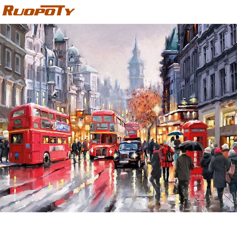 RUOPOTY Frame Rain Street Modern Diy Painting By Numbers Hand Painted Oil Painting On Canvas For Home Decor Artwork 40x50cm