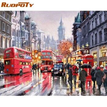 RUOPOTY cadre pluie rue moderne peinture à la main par numéros peint à la main peinture à l'huile sur toile pour décor à la maison œuvre 40x50 cm