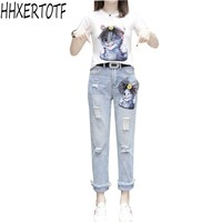 2019 spring summer European new diamond cartoon cat short sleeved T shirt + hole nine points jeans suit female tide