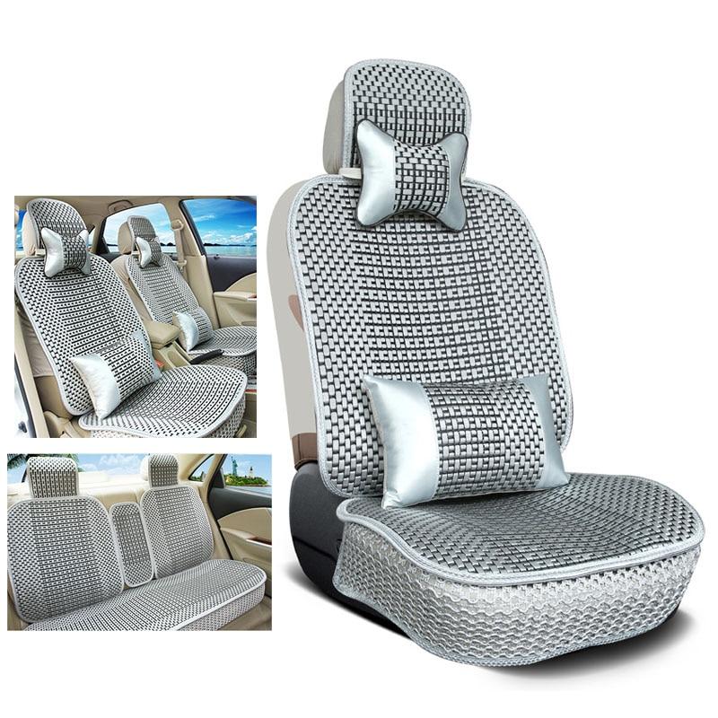 Luxury Comfortable Ice silk Car Seat Cover set For BMW e30 e34 e36 e39 e46 e60 e90 f10 f30 x3 x5 x6 car seats Protector cushion luxury car seat cushion hand woven ice silk with wood beads car seat cover summer front