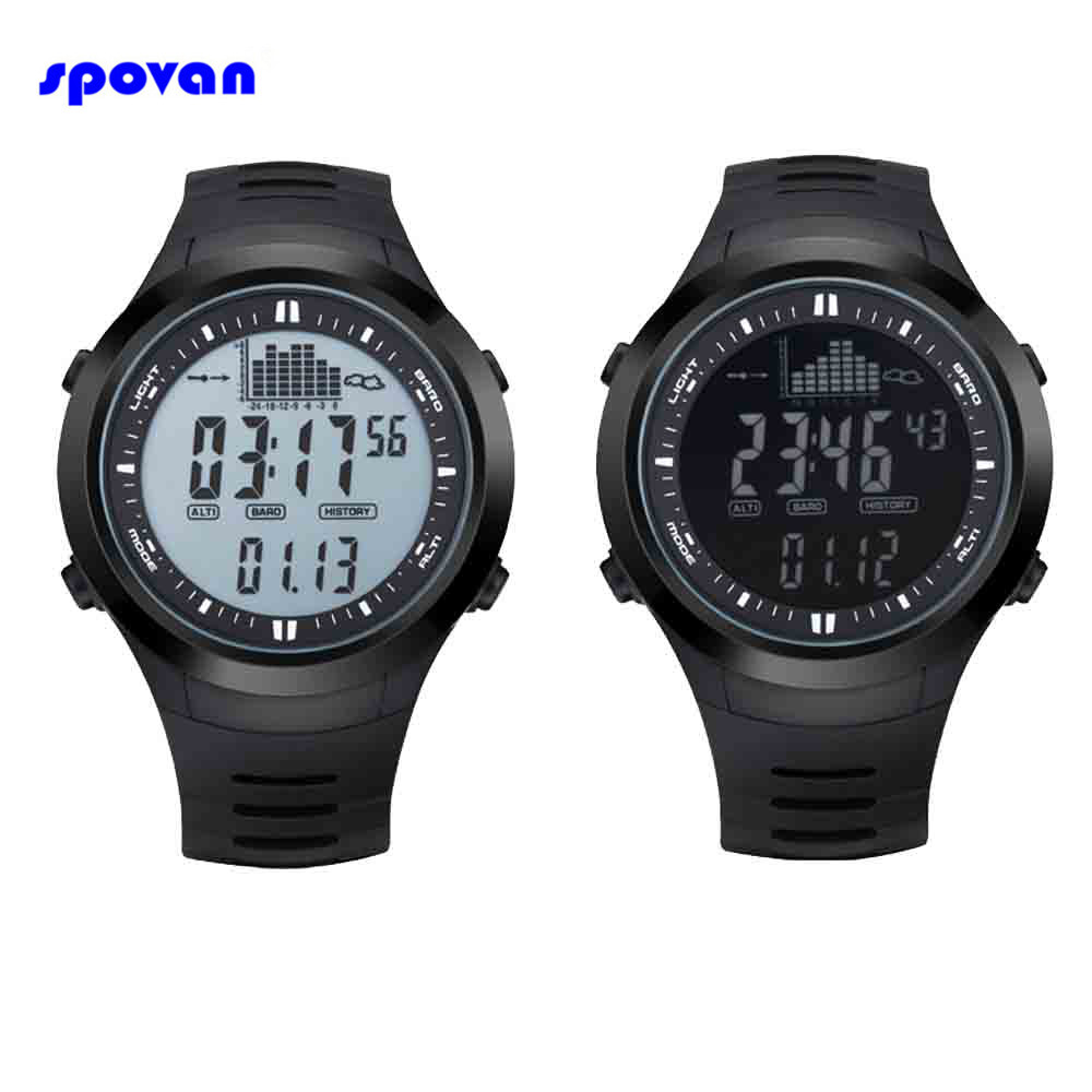 Montre Homme SPOVAN Sport Watch Waterproof Digital Barometer Thermometer Altimeter Men Military Watches Clock Man Reloj Hombre top brand luxury digital watch waterproof military altimeter barometer compass sport watch man clock men hours relogio masculino