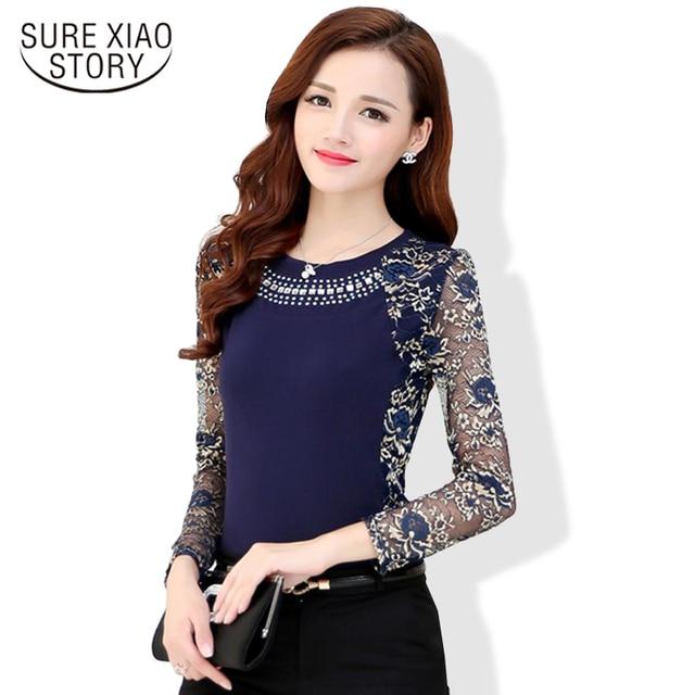 2017 Autumn Women Plus size lace blouse Women long sleeve Patchwork ladies Blouse Fashion Shirt 901G 40