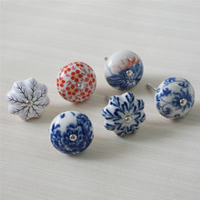 Ceramic Dresser Pulls Knob Flower Drawer Kitchen Cabinet Cupboard Knobs Handles Door Handle Furniture Hardware