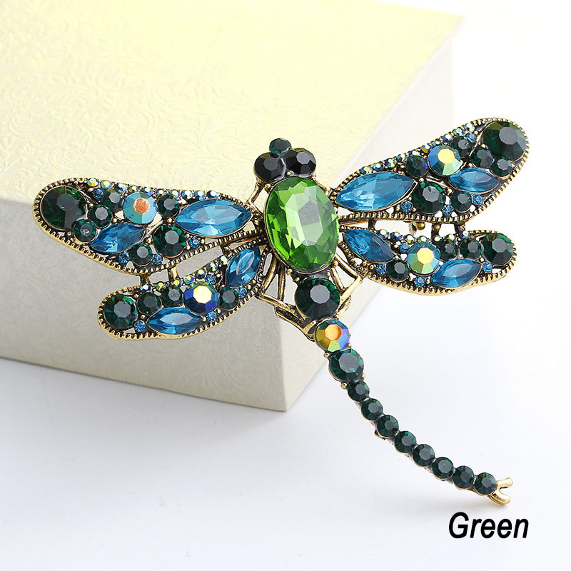 Yidensy Fashion Crystal Rhinestone Dragonfly Brooches for Women Dress Safety Scarf Animal Brooch Pins Jewelry Accessories Gift