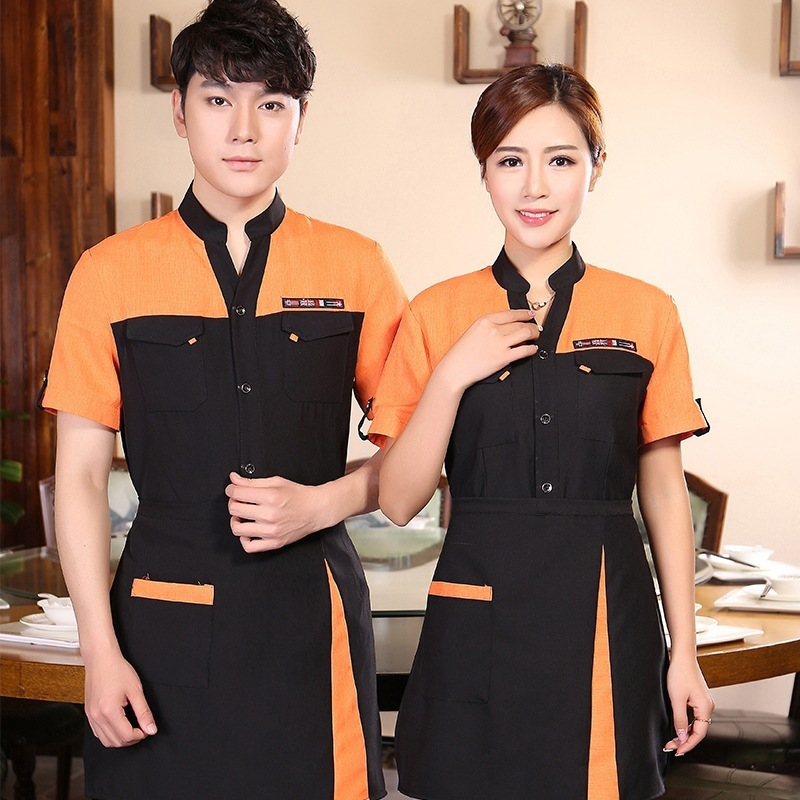 Short-sleeved Uniform Women Waitress Hot Pot Shop Restaurants Fast Food Staff Overalls Breathable Waiter Jacket Work Wear H2266