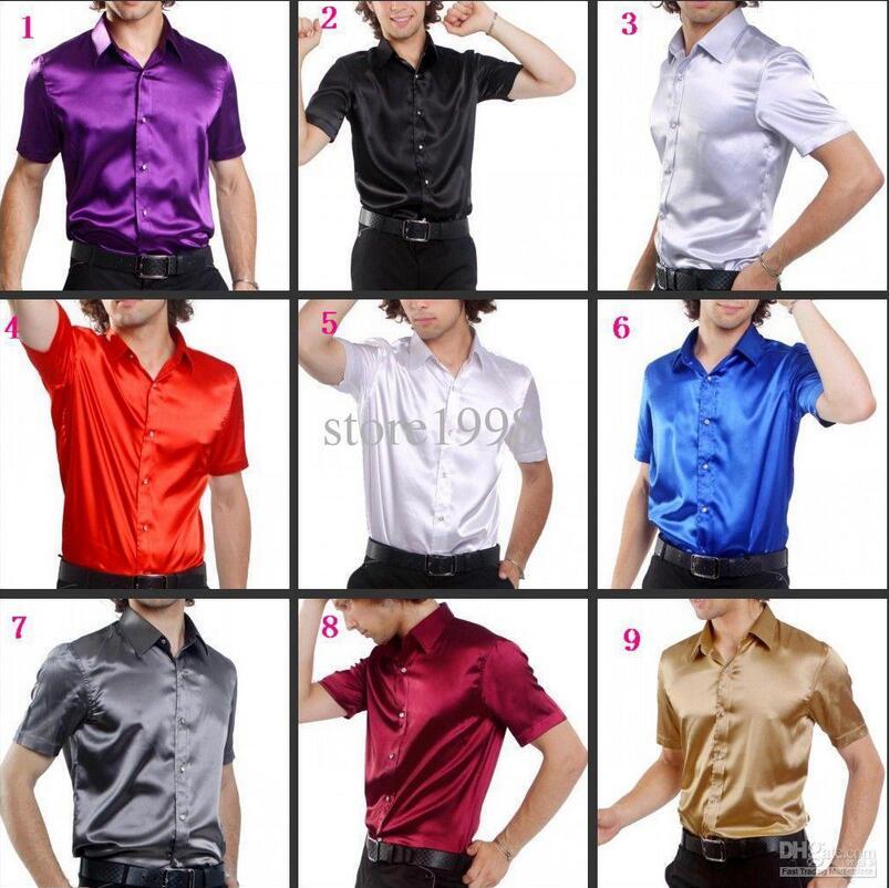 Soie Haute Mariage De Chemises Chemise Qualité Hommes 9 Marié Chaude Personnalisé Courtes Vente À Couleurs En Manches nvY1wq6