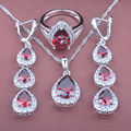 Water Drop Red  Zircon Women's Stamped   925 Silver Color Jewelry Sets Necklace Pendant Earrings Rings Free Shipping TS062