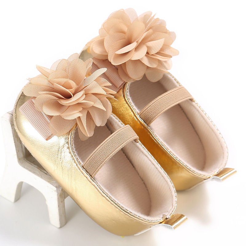 New-PU-Leather-Golden-Silver-Pink-Newborn-Baby-Kid-Prewalkers-Shoes-Princess-Girl-Mary-Jane-Big-Flower-Soft-Soled-Anti-slip-Shoe-4