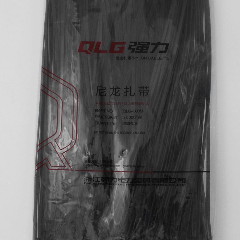 250Pcs/pack 5*300mm high quality width 3.6mm Black Color Factory Standard Self-locking Plastic Nylon Cable Ties,Wire Zip Tie surplice neckline self tie cami jumpsuit