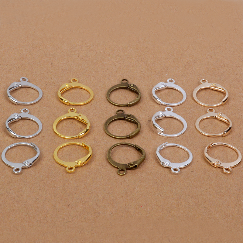 20 Stuks 12x14mm Gold Verzilverd Messing Franse Earring Haken Oor Draad Oorbellen Montage Instelling Base Diy Sieraden Maken 100% Hoogwaardige Materialen
