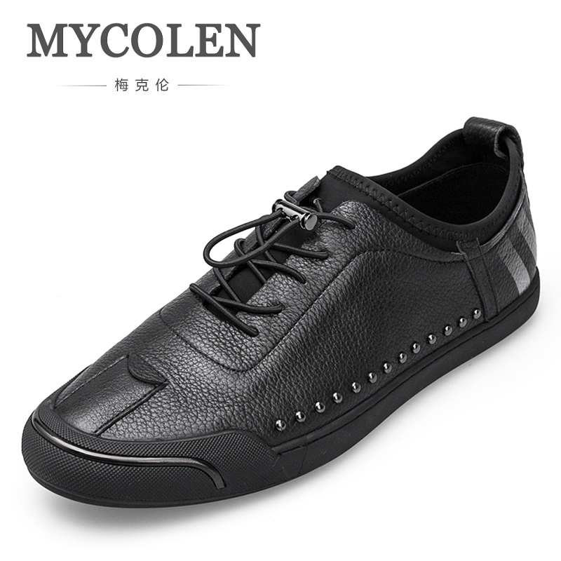 MYCOLEN Luxury Brand Classic Genuine Leather Shoes Men Loafers Lazy Shoes Harajuku Breathable Sneakers Casual Shoes Men Schuhe 2017 new spring imported leather men s shoes white eather shoes breathable sneaker fashion men casual shoes
