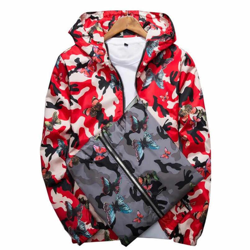 מפציץ גברים מעיל דק דק ארוך שרוול הסוואה צבאי מעילי סלעית 2019 מעיל רוח רוכסן להאריך ימים יותר צבא מותג בגדים
