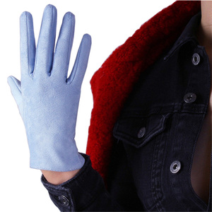 Image 4 - 21cm Suede Short Gloves Short Section Emulation Leather Brushed Suede Matte Light Blue Female Gloves Free Shipping WJP10 21