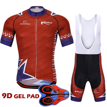 2018 New Brand Ropa Ciclismo Cycling Jersey Set Short Sleeve Cycling Kit Team Bike Wear Jersey Set Bib Shorts with 9d Gel Pad
