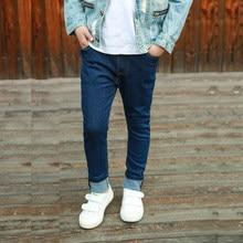 Ienens 5-13y moda meninos magro calças de brim retas jovem menino calças casuais crianças do bebê denim calças compridas cor sólida
