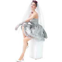 Halloween Carnival purim Grey Ghost Bride Wedding Uniform Devil Vampire Princess Dress for women adult girls Cosplay costume
