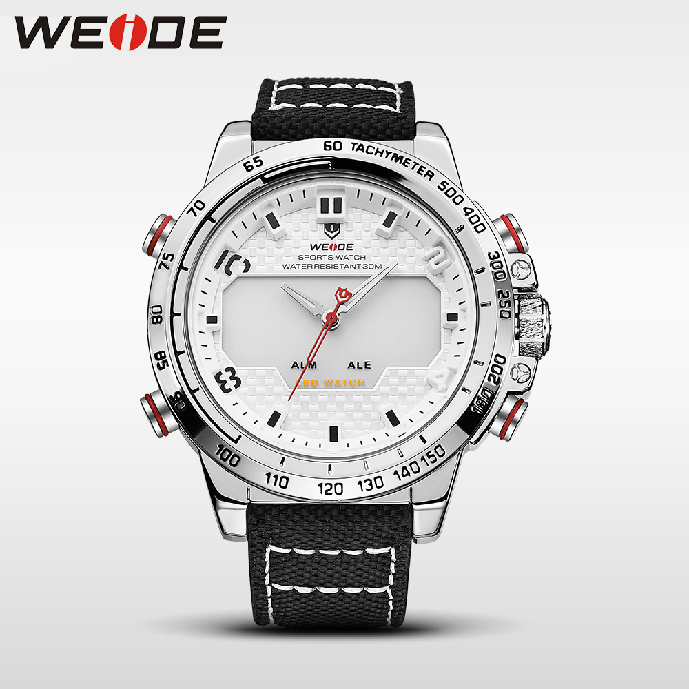 WEIDE genuine nylon watches mens watches brand luxury sport waterproof watch white quartz automatic analog alarm clock WH6102 цена