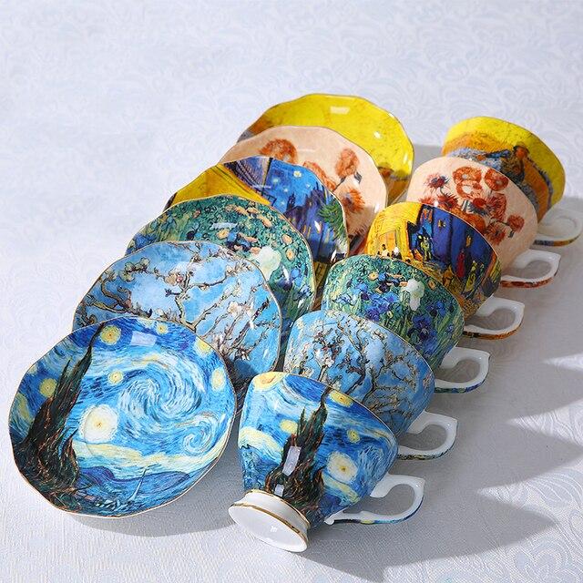 Tasses à café la nuit étoilée | Nouvelles tasses à café peintes de Van Gogh artistique, fleurs de soleil le semeur iris saint-remy tasses de thé à café