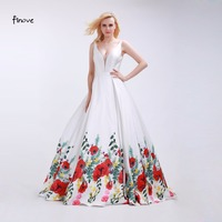Finove White Prom Dresses Sexy Big V Neck 2016 Fashionable Red Flowers Pattern Sleeveless And Backless