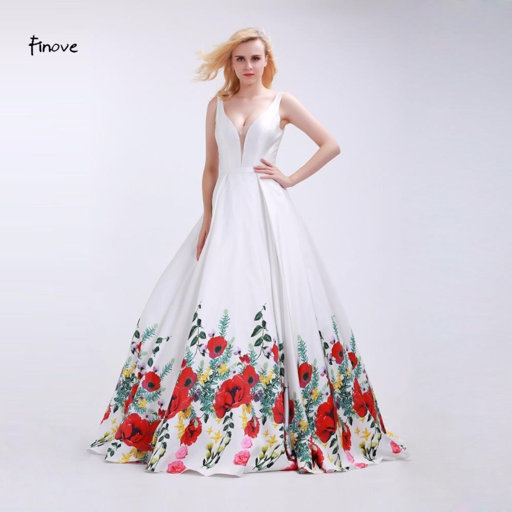 982bee8cf Finove Branco Prom Meninas Vestidos de 2019 Sexy Com Decote Em V Elegante Vestido  de Flores Vermelhas Padrão Reflexivo longo Até O Chão Vestidos de Festa ...