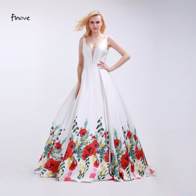 965d6ea9a02b Finove White Prom Dresses Girls 2019 Sexy V-Neck Fashionable Red Flowers  Pattern Reflective Dress