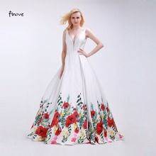 Finove White Prom Dresses Sexy Big V Neck 2018 Fashionable Red Flowers Pattern Sleeveless and Backless