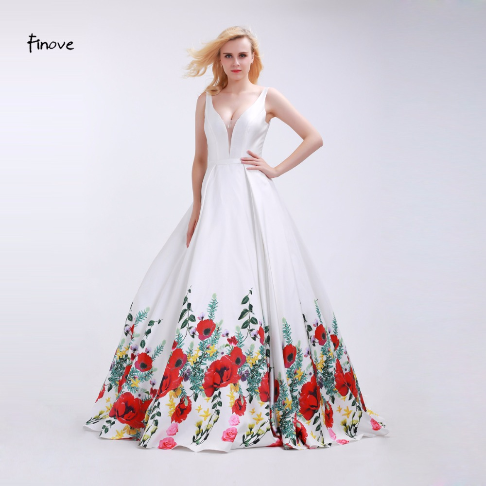 Finove White Prom Y V Neck 2017 Fashionable Red Flowers Pattern Sleeveless And