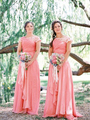 2014 Hot Sale Cap Sleeve Coral Lace Pleated Chiffon Long Bridesmaid Dress Custom Made Size 4 6 8 10 12 14 16 18++ B4