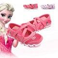 2017 dos desenhos animados Elsa princesa sapatos sandálias meninas calça as sapatilhas das crianças correndo sapatos respirável sapatos esportes das meninas cintas não-slip