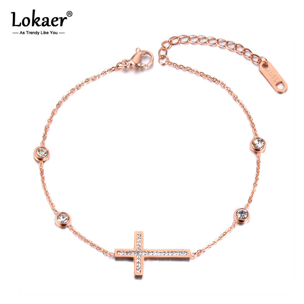 Lokaer Trendy Clay Crystal Cross Charm Bracelets For Women Stainless Steel CZ Link & Chain Bracelet For Christmas Gift B19044
